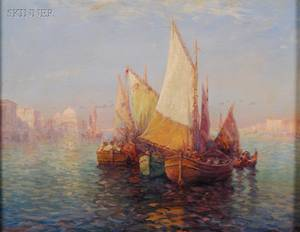 Carl Mller Austrian 18621938 Moored in the Grand Canal