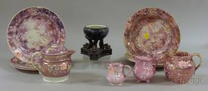 Ten Pieces of Assorted English Lustreware Table Items