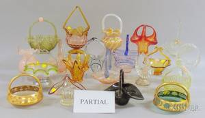 Twentyfive Assorted Colored Art Glass Brides Baskets