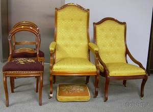 Four Victorian Rococo Revival Upholstered Carved Walnut Parlor Chairs