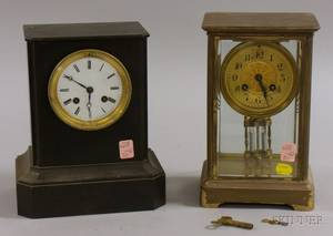 French Black Slate Mantel Clock and a Crystal Regulator