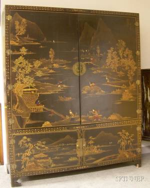 Chinesestyle Gilt Decorated Black Lacquered FourDoor Storage Cabinet