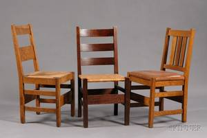 Three Arts  Crafts Wood Side Chairs