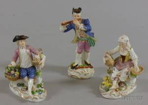 Handpainted Austrian Porcelain Figure and a Pair of Nymphenburg Handpainted Porcelain Figures