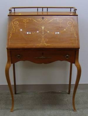 Edwardian Ladys Marquetry Decorated Mahogany Slantlid Writing Desk