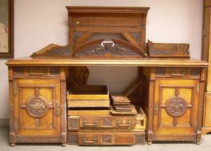 Victorian Gothic Revival Carved Oak and Burl Veneer Sideboard