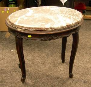 Louis XV Style Oval Marbletop Carved Walnut Stand