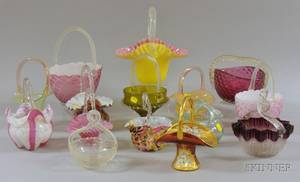 Fifteen Assorted Art Glass Baskets