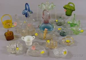 Twentyone Assorted Miniature Art Glass Baskets