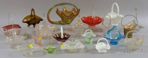 Twenty Assorted Art Glass Baskets and Serving Items