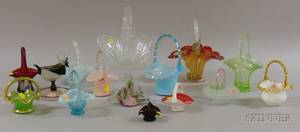 Fifteen Assorted Art Glass Baskets and Serving Dishes