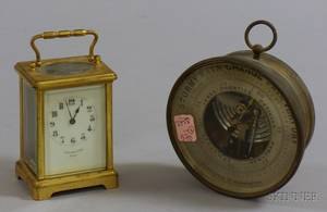 Brass Carriage Clock and Associated Holosteric Barometer