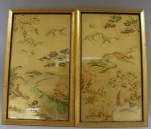 Pair of Framed Chinese Gouache Landscapes on Gold Leaf and a Framed Indonesian Print on Cloth