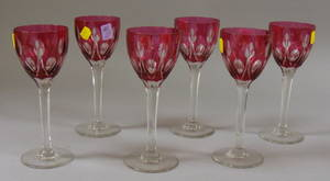 Set of Six Cranberry CuttoClear Glass Wines