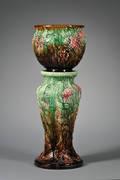 Weller Pottery Zinnia Jardiniere on a Pedestal