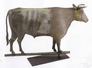 Howard cast iron and copper full bodied bull weathervane late 19th c