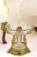 French gilt bronze and cut crystal centerpiece bowl late 19th c