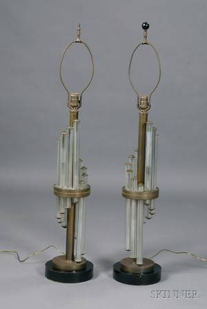 Pair of Art Deco Brass and Glass Table Lamps