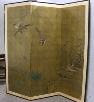Japanese Painted ThreePanel Floor Screen