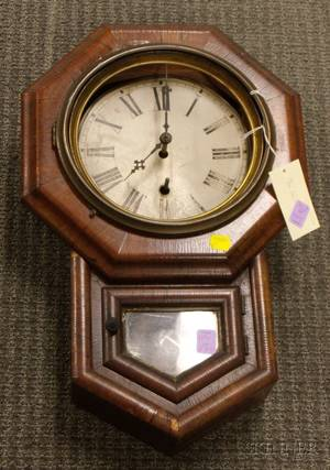Mahogany Miniature Drop Octagon Wall Clock by Welch Manufacturing Company