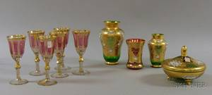 Set of Six Bohemian Gilt Cranberry Flash and Colorless Glass Wines and a Set of Three Gilt and Enameled Colored