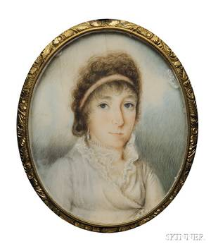 Portrait Miniature of a Woman in a White Dress Pearls and a Pink Hair Ribbon