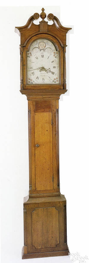 Bedminster Township Bucks County Pennsylvania Chippendale walnut tall case clock ca 1785