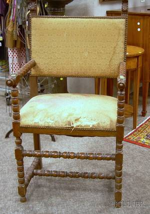 William  Mary Style Upholstered Carved and Turned Wood Armchair