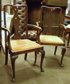 Pair of Queen Anne Style Mahogany Open Armchairs with Upholstered Slip Seats