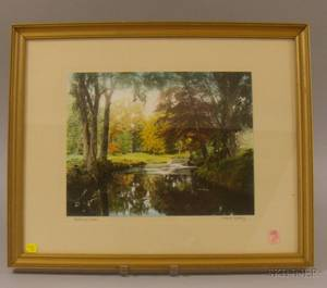 Three Framed Wallace Nutting Handcolored Photographic Prints and a Framed British Handcolored Lithograph Hunt