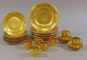 Set of Twelve Ernst Wahliss Gilt Porcelain Plates and a Set of Seven Pickard Gilt Porcelain Demitasse Cups and Saucers