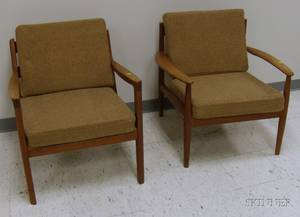 Two Danish Modern Upholstered Teak Lounge Chairs