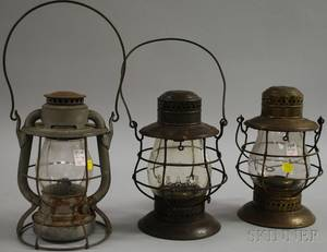 Three New York Central Railroad Metal Kerosene Lanterns with Colorless Glass Globes