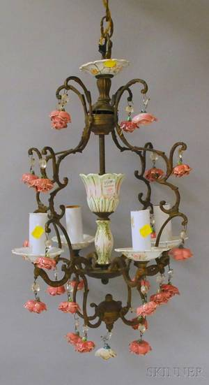 Italianstyle Ceramicmounted Brass Fourlight Chandelier