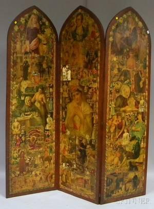 Late Victorian Decoupage Chromolithograph Scrapdecorated Oak Threepanel Floor Screen