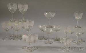 Sixtyfour Piece Set of Baccarat Colorless Etched Scrolldecorated Stemware