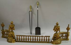 Georgianstyle Giltbrass Figural Fireplace Fender and a Pair of Fireplace Tools