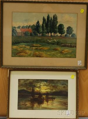 American School 20th Century Lot of Two Works View with Sheep
