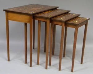 Nest of Four Floral Marquetrydecorated Mahogany Stands