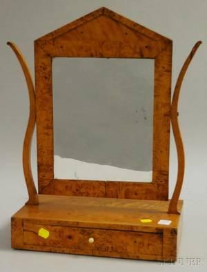 Neoclassical Inlaid Satinwood Veneer Dressing Mirror on Cabinet