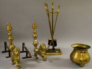 Group of Brass and Copper Fireplace and Decorative Items