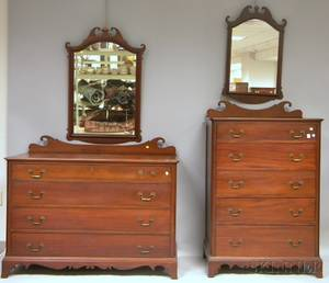 Colonial Revival Mahogany Fivedrawer Tall Chest and Dresser Set with Mirrors