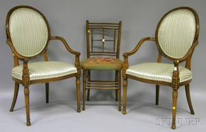 Pair of Louis XVIstyle Upholstered Carved Beechwood Fauteuils and a Needlepointupholstered Wooden Ballroom Chair