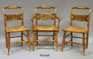 Set of Six L Hitchcock Stencildecorated Maple Dining Chairs