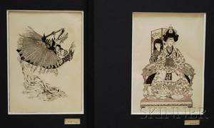 Betty Fraser American b 1928 Lot of Two Pen and Ink Drawings Girl with Dragon