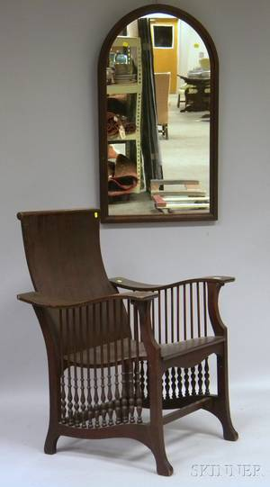 Late Victorian Mahogany Spindlesided and Laminated Bentwood Armchair and a Victorian Walnut Archtop Mirror