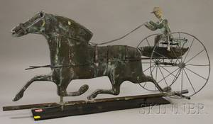 Copper Horse Sulky and Driver Weather Vane