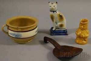 Three Pottery Items and a Carved Wooden Scoop