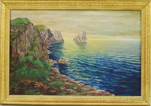 20th Century American School Oil on Canvas View from a Rocky Coast