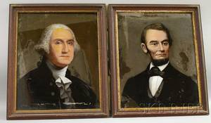 Pair of Framed Reversepainted Portraits on Glass of George Washington and Abraham Lincoln